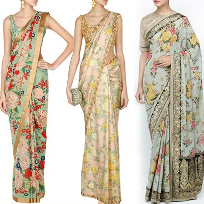 ae2b69766ee7ce Resonating with the eternal vibe of floral prints, Sabyasachi has blended  fabrics like georgette silk, satin silk, khadi, tulle and organza with  intricate ...