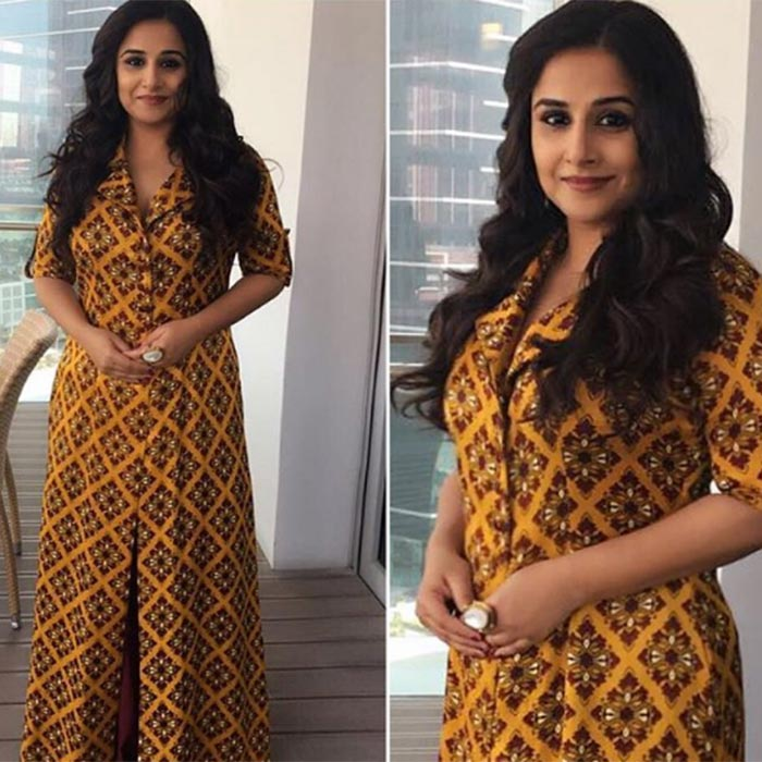 eec26cae8a2b0e While promoting Kahaani 2 in Dubai, Vidya donned a Maxi lapel dress by  Pooja Bagaria Jhunjhunwala. She accessorized her look with a statement ring  by Ritika ...