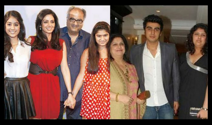 Boney Kapoor with Sridevi Mona Kapoor and kids