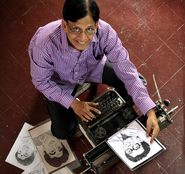 Mumbai based Chandrakant Bhide chanced upon his talent as a typewriter artist while working at the Union Bank of India. When he took voluntary retirement, he asked the bank if he could buy the machine. He was allowed to purchase it for Re. 1 and till date, continues to produce splendid caricatures and portraits. (Photo: Chirodeep Chaudhri)