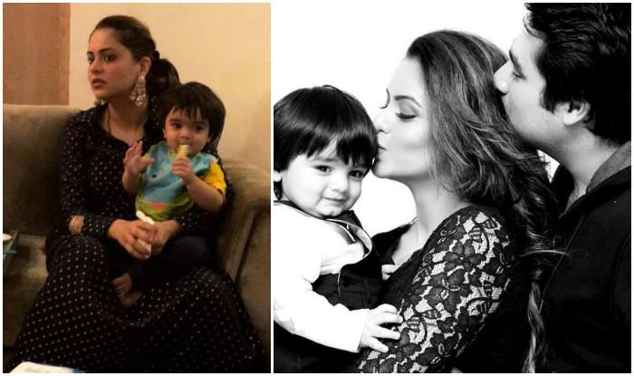 Awwdorable kahiin to hoga actress aamna sharif holding baby arain