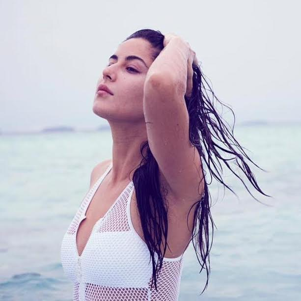 Katrina in mesh swimsuit