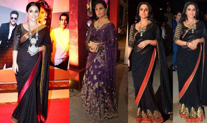 Black and Purple bollywood saree