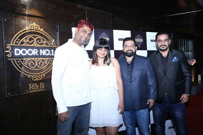 L- R DJ Rusell Ayesha Vishesh Khanna Mihir Bijur at the launch of Door No. 1