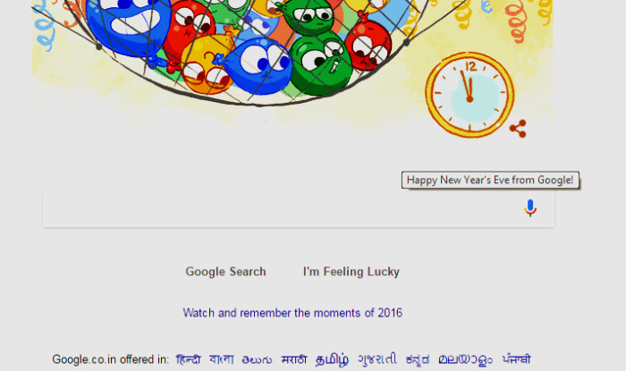 new years eve day doodle from google to wish you a happy new year 2017