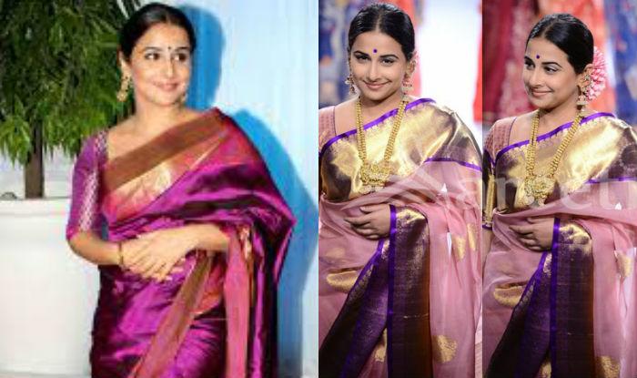 Vidya Balan Broad border saree style