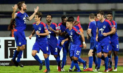 Bengaluru team celebrates after reaching into the finals of AFC Cup