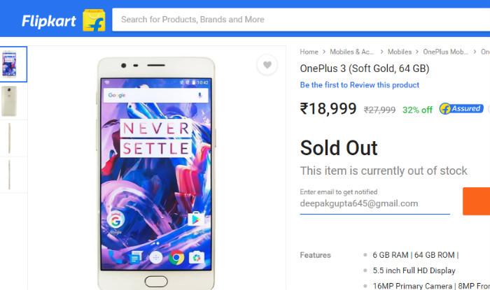 acb064d2d09 Flipkart Big Shopping Days Sale  OnePlus 3 sold out