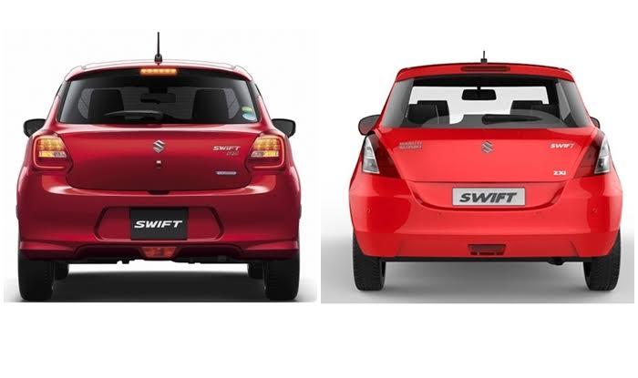 Suzuki Swift 2017 - New vs Old Rear Profile