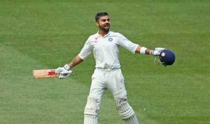 File photo of Virat Kohli celebrating after reaching his century during the Third Test at MCG in 2014 | Getty Images