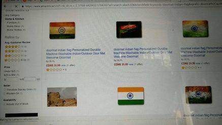Indian flag doormat at Amazon