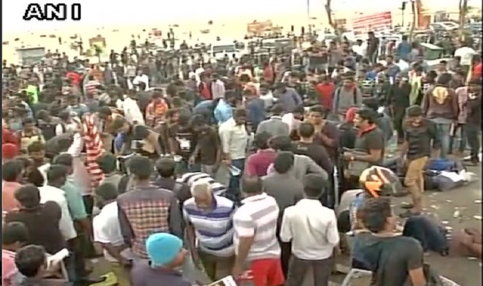 MK Stalin, DMK MLAs detained while protesting at Marina Beach