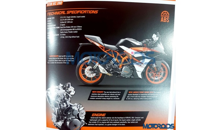 New 2017 KTM RC 390 & RC200 brochure images leaked