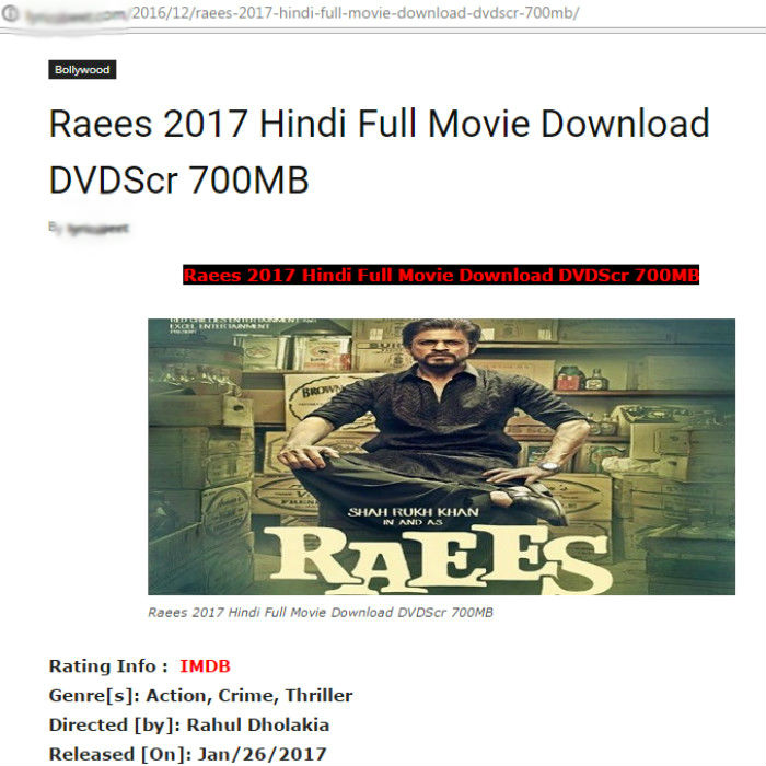 Free Download Film Box Office: Raees Full Movie Free Download Online Should Concern Shah