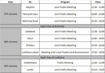 राहुल गांधी का तीन दिनों का कार्यक्रम