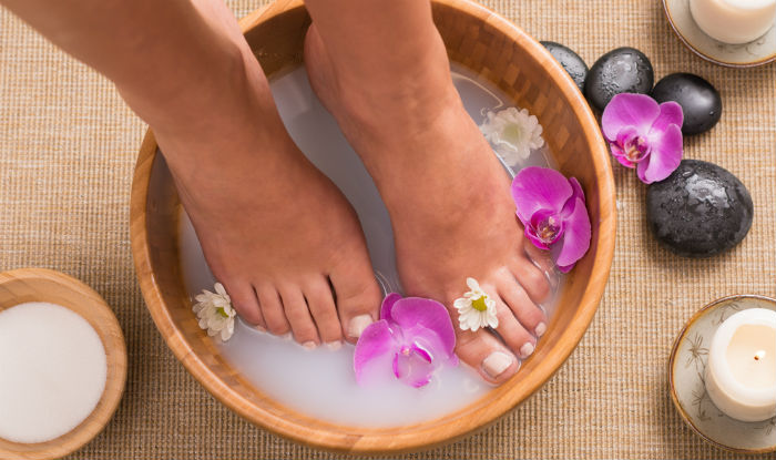 Use milk for foot spa