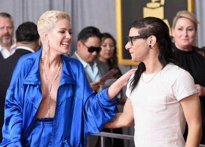 Halsey goes braless in a tracksuit at Grammys!