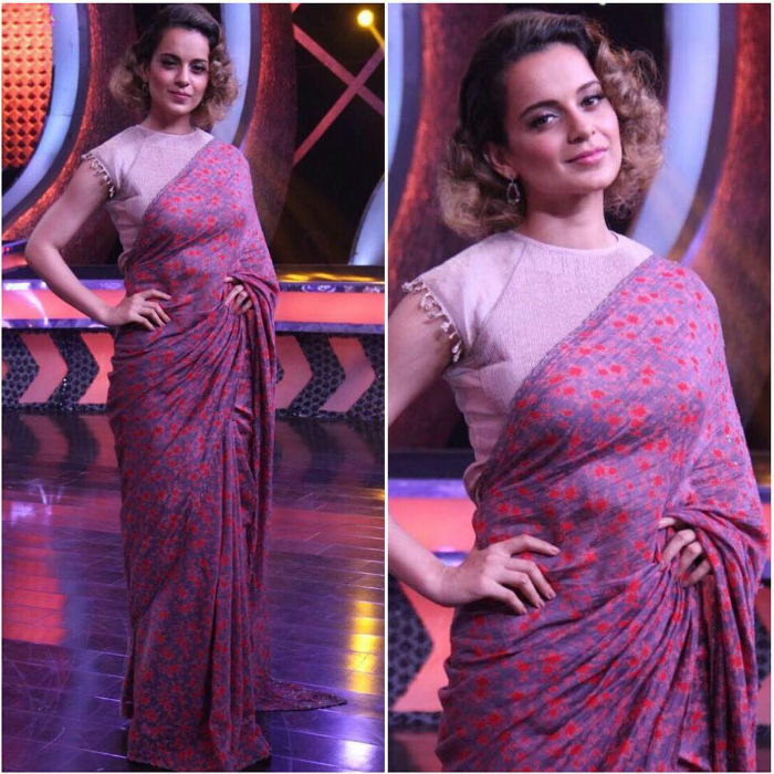 Kangana Ranaut Saree promotional Style for Rangoon 3