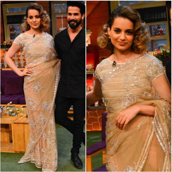 Kangana Ranaut Saree promotional Style for Rangoon 5