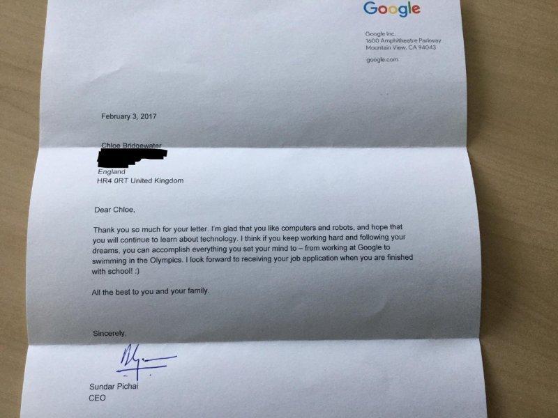 google ceo sundar pichai replies to seven year old girl who sought