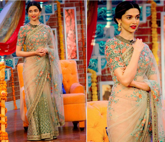 Deepika Padukone flaunts floral Sabyasachi saree & gives ...