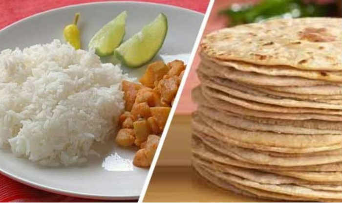 Rice and chapati