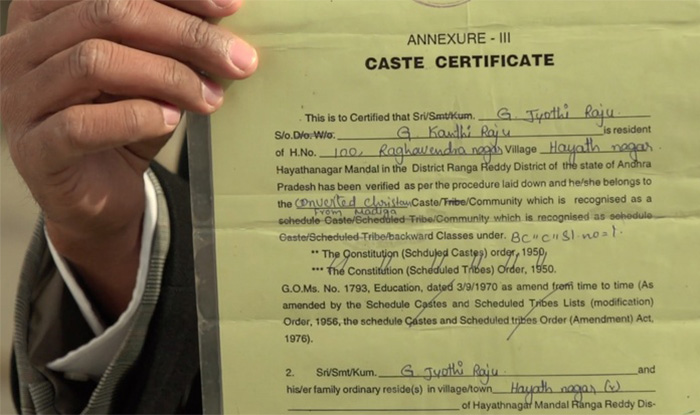 caste validity certificate in english