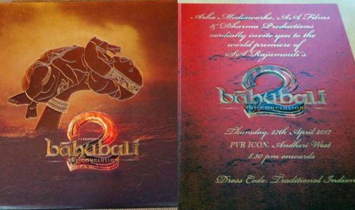 Baahubali 2 Grand Premiere Invitation Card Redefines The Meaning Of