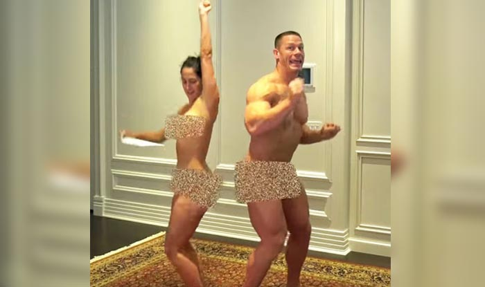 John Cena And Fiancee Nikki Bella Strip Naked To Celebrate 500000 Video Subscribers Watch Video