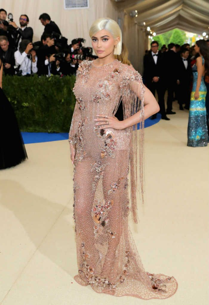 Kylie grabbed a whole lot of attention in the nude Versace gown