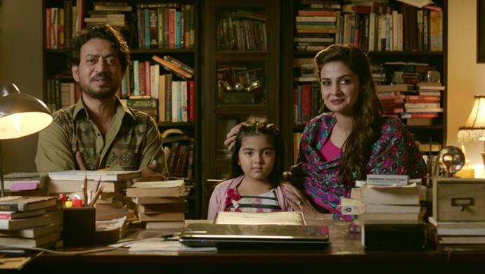 Irrfan Khan and Pakistani actress Saba Qamar in a still from Hindi Medium