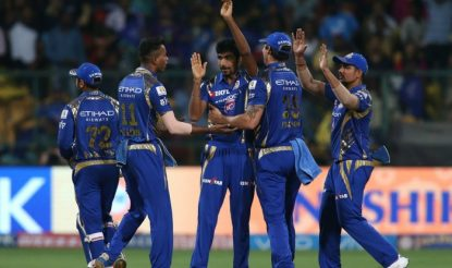 Jasprit Bumrah of the Mumbai Indians is congratulated by for getting Chris Lynn's wicket. (BCCI)
