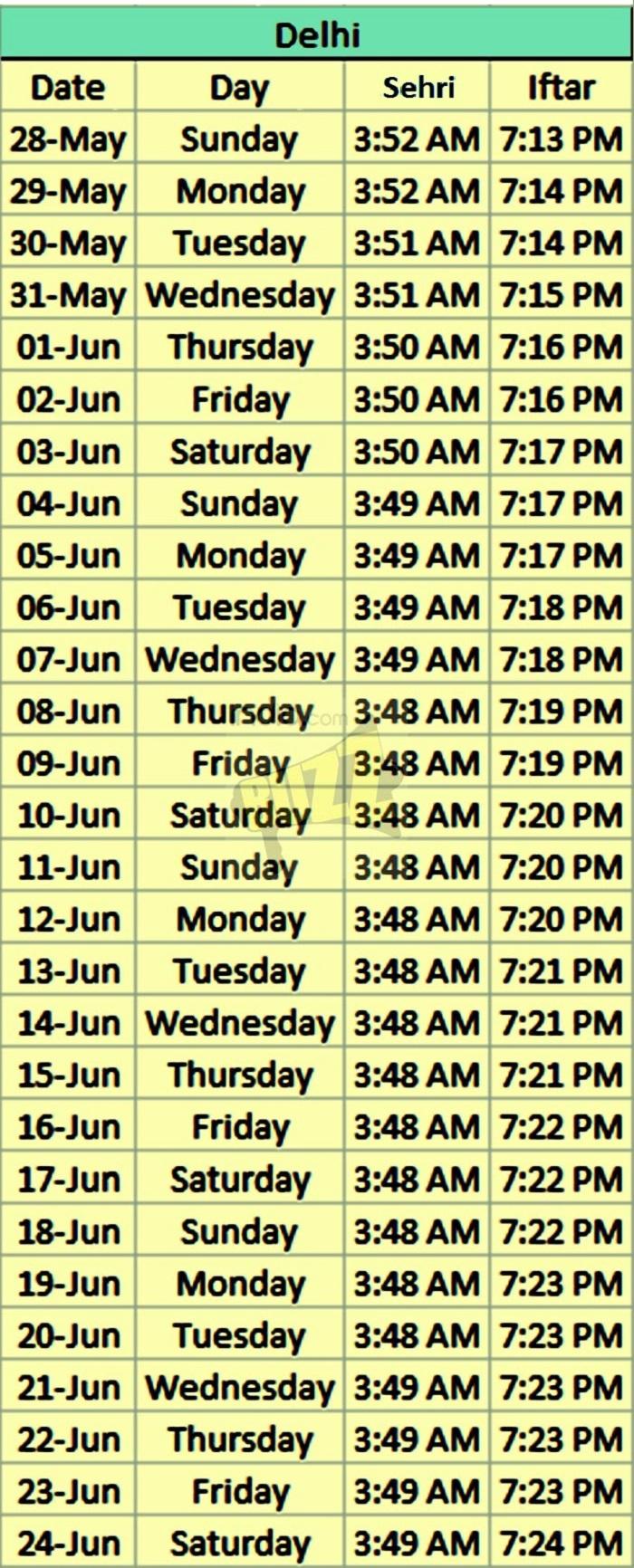 timing delhi ramadan