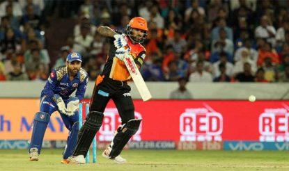 शिखर धवन ने नाबाद अर्धशतकीय पारी खेलते हुए हैदराबाद को शानदार जीत दिलाई (bcci)