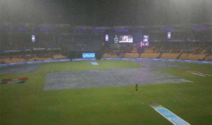 एलिमिनेटर में हैदराबाद की पारी खत्म होते ही तेज बारिश आ गई (bcci)