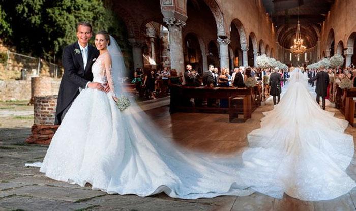 2cded47360a2 Singer and Swarovski Gemstone heiress Victoria marries boyfriend in a  wedding .