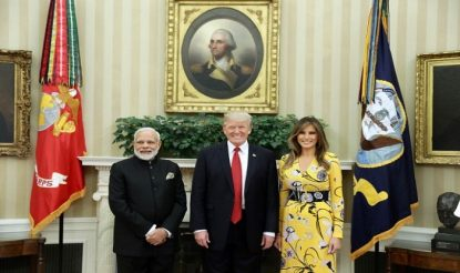 PM Modi with POTUS Donald Trump and First Lady Melania Trump