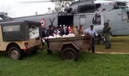 Food distributed in flood affected region in Odisha
