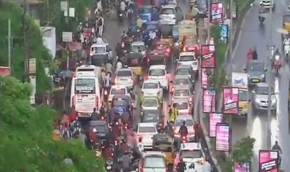 Traffic disrupted in Hyderabad