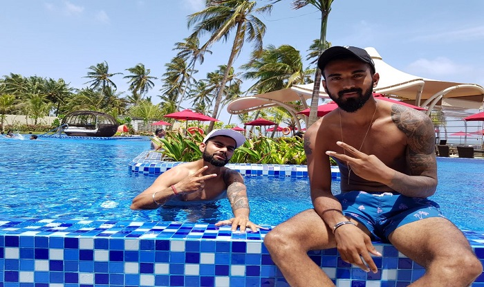 Virat Kohli Enjoys Day Off Relaxes With Kl Rahul In Swimming Pool