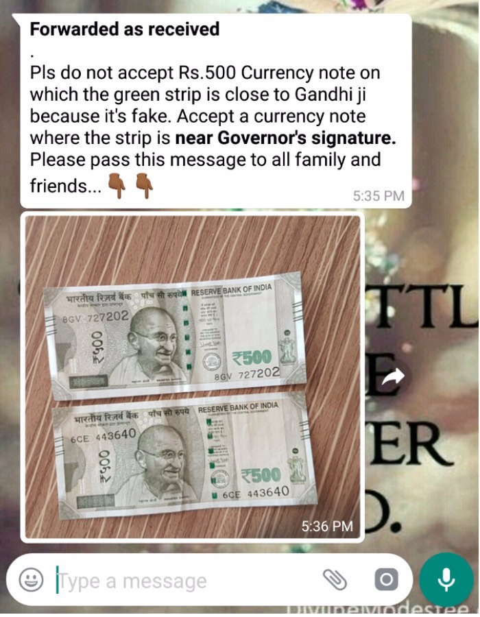 fake 500 note picture