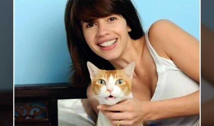 Kalki Koechlin with her cat Dosa