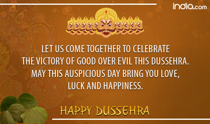 Dussehra 2017 wishes in english best whatsapp messages gif images whatsapp message reads let us come together to celebrate the victory of good over evil this dussehra may this auspicious day bring you love m4hsunfo
