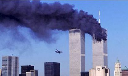 One of the planes crashing into the World Trade Center building