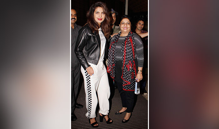 Priyanka Chopra and her mother Madhu Chopra clicked at the Mumbai airport