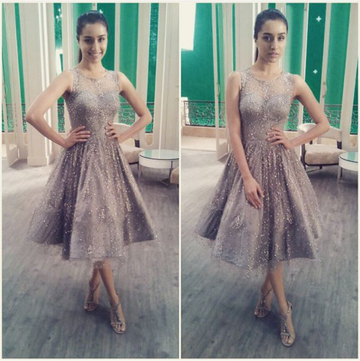 Shraddha-Kapoor-looks like a doll in this grey sequinned knee-length dress