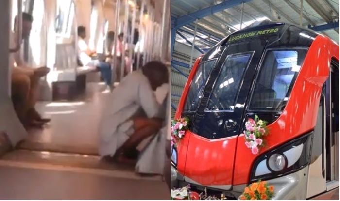 lucknow metro video of old man allegedly doing toilet inside