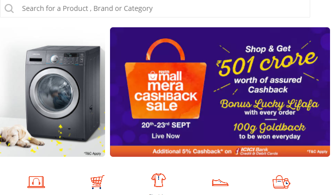 Paytm Mall Mera Cashback Sale Offers Up to 100 Percent Cashback