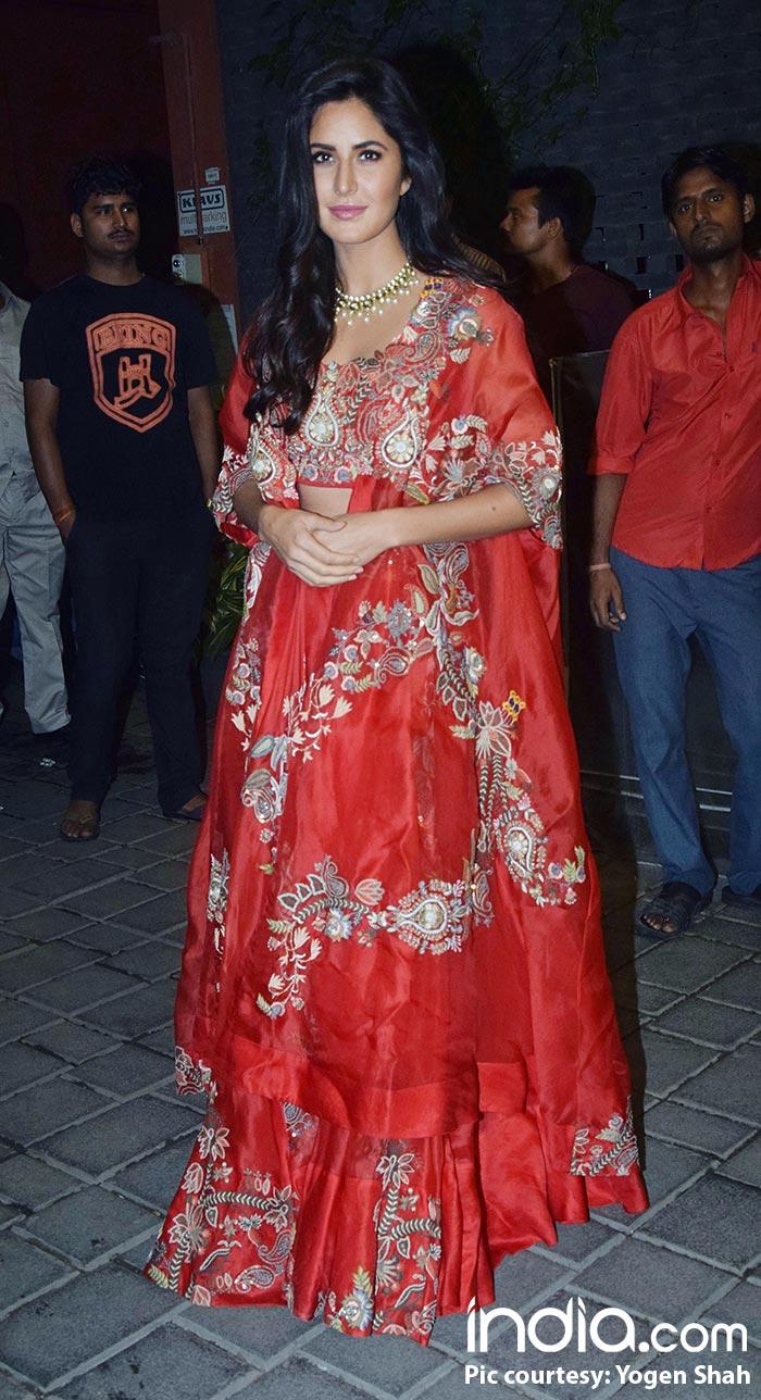 Katrina Kaif looking gorgeous in red at Arpita Khan's Diwali bash