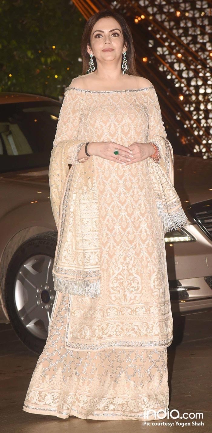 Nita Ambani looks pretty in a pastel shaded ensemble